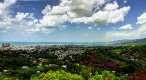 全景鸟瞰图向西班牙港,特立尼达和多巴哥 免版税库存图片