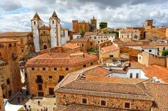 全景,中世纪城市,卡塞里斯,埃斯特雷马杜拉,西班牙 图库摄影