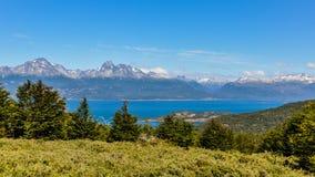 全景,火地群岛国家公园,乌斯怀亚,阿根廷 库存图片