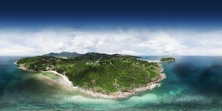 360全景,美好的lanscape顶视图在海岛的 库存图片