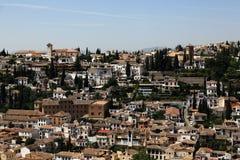 全景,阿尔罕布拉宫,安大路西亚,格拉纳达,西班牙 免版税库存照片