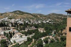 全景,阿尔罕布拉宫,安大路西亚,格拉纳达,西班牙 图库摄影