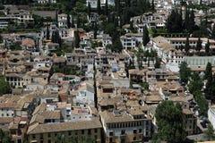 全景,阿尔罕布拉宫,安大路西亚,格拉纳达,西班牙 免版税图库摄影