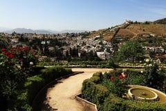 全景,阿尔罕布拉宫,安大路西亚,格拉纳达,西班牙 库存图片