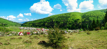 全景-用绿色木头盖的村庄、山和Th 库存图片