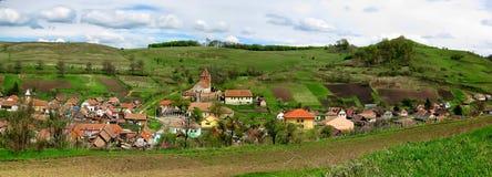 全景/Buzd 一个村庄在特兰西瓦尼亚罗马尼亚 库存图片