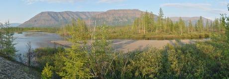 全景 Putorana高原的河 免版税库存照片
