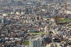全景arial视图东京市住所区域,日本 免版税库存照片