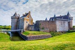 全景Chateau de Suscinio,中世纪城堡,前 免版税库存照片