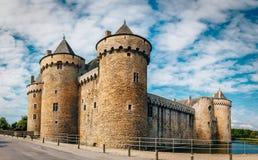 全景Chateau de Suscinio,中世纪城堡,前 免版税图库摄影