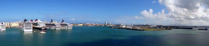 全景Cruiseport圣胡安-波多黎各 图库摄影