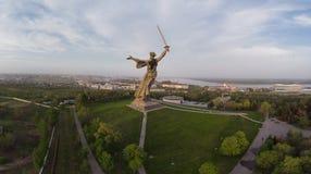 全景Mamaev库尔干360 伏尔加格勒,俄罗斯2018年 图库摄影
