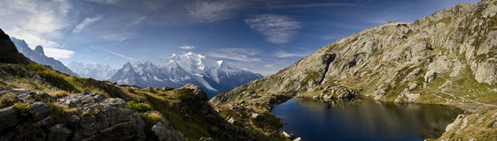 全景Mont Blan-法语阿尔卑斯 免版税库存图片