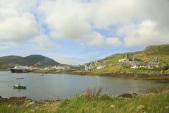 全景od Castlebay,巴拉岛,苏格兰,英国 免版税库存图片