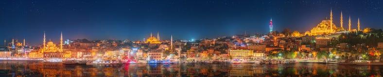 全景os伊斯坦布尔和博斯普鲁斯海峡在晚上 免版税库存照片