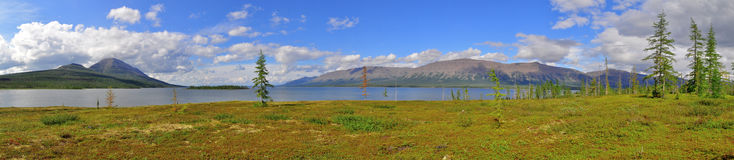 全景Putorana高原的山湖 免版税库存图片