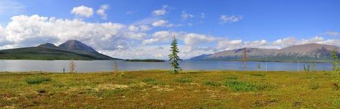 全景Putorana高原的山湖 库存图片