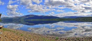 全景Putorana高原的山湖 库存照片