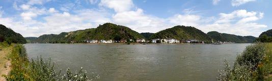 全景rhein河 库存图片