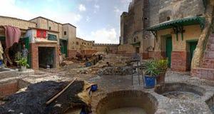 全景Tetouan的皮革厂 库存照片