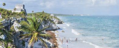 全景Tulum的海滩 免版税库存图片