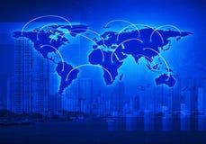 全球企业在城市,这ima的元素的连接概念 免版税库存图片