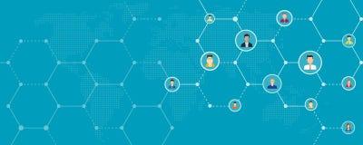全球企业网上和社会网络连接背景横幅 库存例证