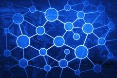 全球企业连接在世界地图和城市的网络概念 免版税库存图片
