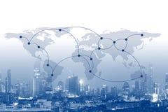 全球企业连接网络概念,美国航空航天局装备的这个图象的元素 免版税库存照片