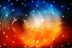 全球企业,数字式抽象技术背景的最佳的互联网概念 电子, Wi-Fi,光芒,标志互联网,远 库存图片