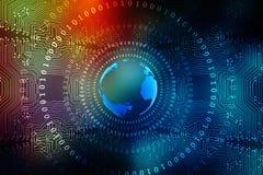 全球企业,数字式抽象技术背景的最佳的互联网概念 电子, Wi-Fi,光芒,标志互联网,远 免版税图库摄影