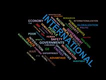 从全球化、经济和政策环境的国际-措辞云彩wordcloud -期限 皇族释放例证