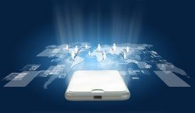 全球化或社会网络概念背景与新的基因 免版税库存图片
