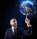 全球性互联网连接概念 美国航空航天局提供的世界 免版税库存照片