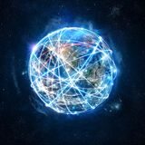 全球性互联网连接网络的概念 美国航空航天局提供的世界 免版税图库摄影