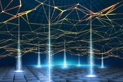全球性信息网根据Blockchain技术 数据处理和存贮的视觉概念 分散的databas 库存例证