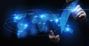 全球性全世界通信Businesss网络技术互联网概念 库存照片