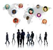 全球性公共世界人民社会网络连接 库存例证