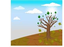 全球性变暖和A唯一树在气候变化离开 向量例证