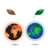 全球性变暖的概念 烧行星地球的太阳 免版税图库摄影