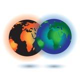 全球性变暖的概念 烧行星地球的太阳 库存照片