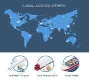 全球性后勤学网络平的3d等量传染媒介例证套海空运货物交换的铁路运输 库存例证