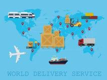 全球性后勤,运输和服务全世界交付世界地图概念 库存图片