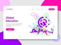 全球性教育例证概念登陆的页模板  网页设计的现代平的设计观念网站的和 皇族释放例证