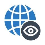 全球性眼睛纵的沟纹双重颜色象 库存例证