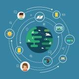 全球性社会网络连接 库存图片