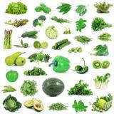 全球性绿色美食术拼贴画在白色背景中 库存照片