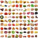 全球性美食术拼贴画在白色背景中 免版税图库摄影