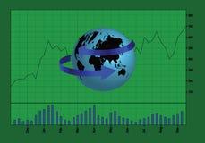 全球性股市以绿色 库存例证