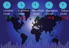 全球性股市和时区 皇族释放例证